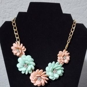 Vintage Necklace W/Plastic Flowers And Rhinestones